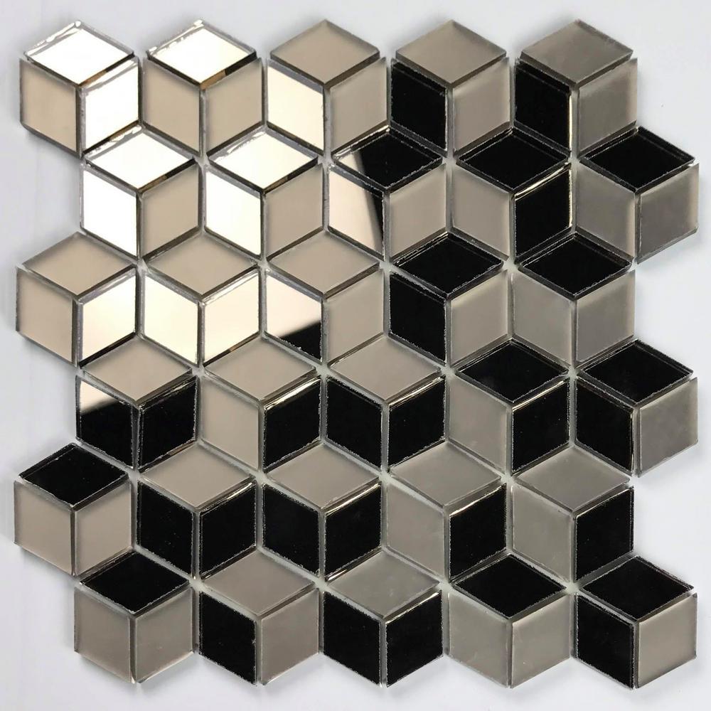 "Mosaic 2"" x 2"" Diamond Gold Glossy & Matte Glass Peel & Stick Decorative Bathroom Wall Tile Backsplash (7 Sq. ft./Case)"