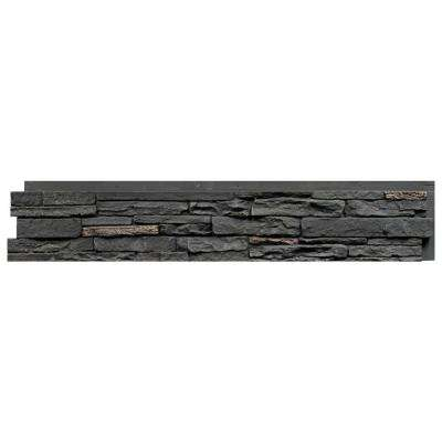 Slatestone Midnight Ash 8.25 in. x 43 in. Faux Stone Siding Panel (8-Pack)