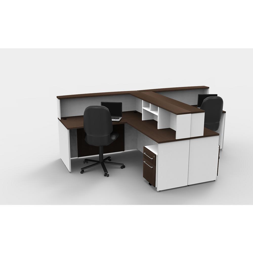 10-Piece White/Espresso Office Reception Desk Collaboration Center