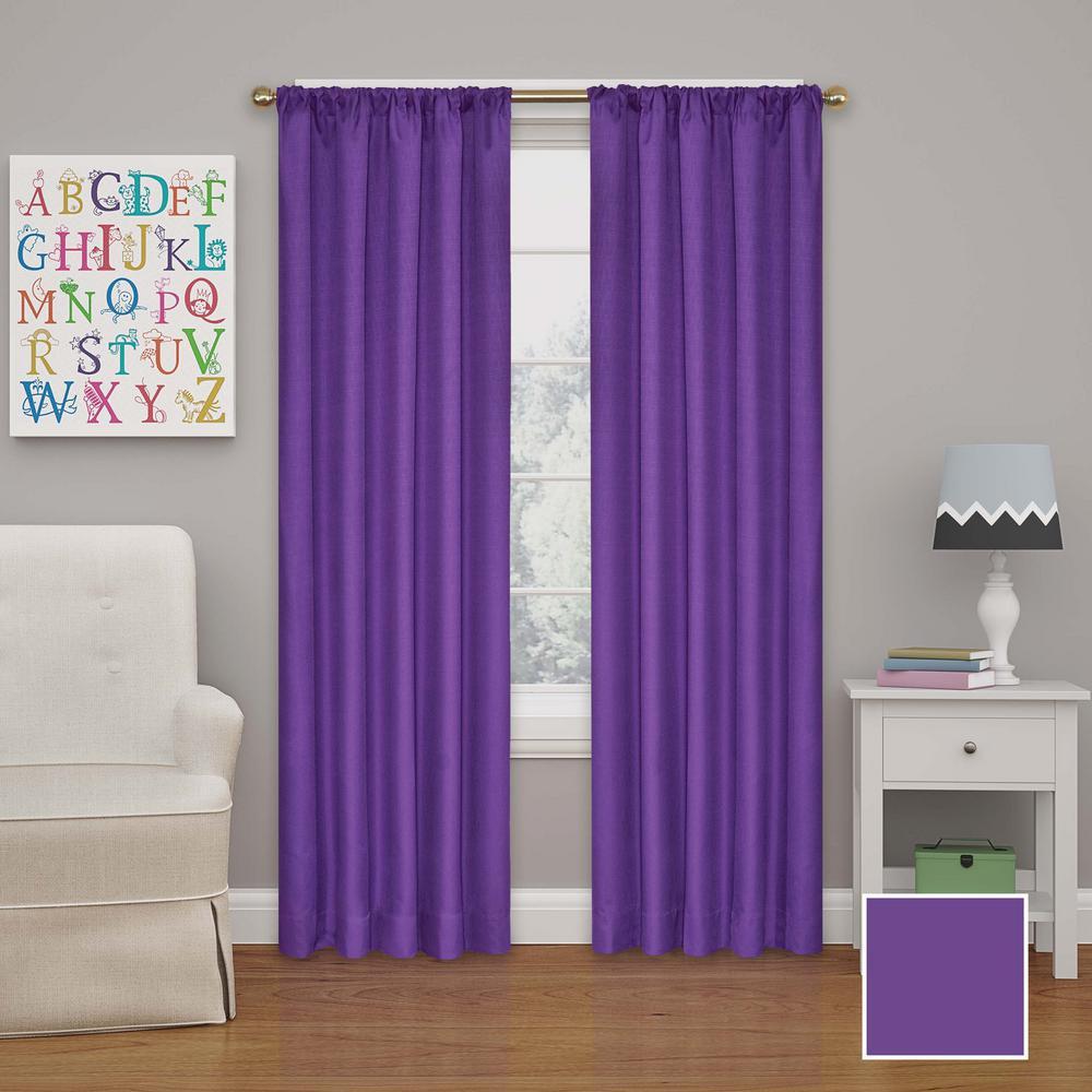 Kendall 95 in. L Purple Rod Pocket Curtain