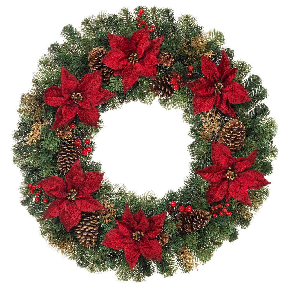 Home Accents Holiday 36 In Unlit Artificial Christmas Pine Wreath With Burgundy Poinsettias