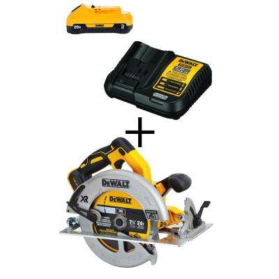20-Volt MAX XR Lithium-Ion Cordless Brushless 7-1/4 in. Circular Saw w/ Brake, Free 20-Volt 3.0Ah Battery and Charger