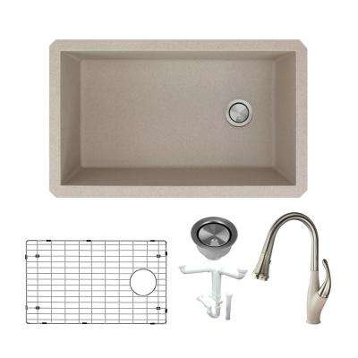 Radius All-in-One Undermount Granite 32 in. Single Bowl Kitchen Sink with Faucet in Cafe Latte