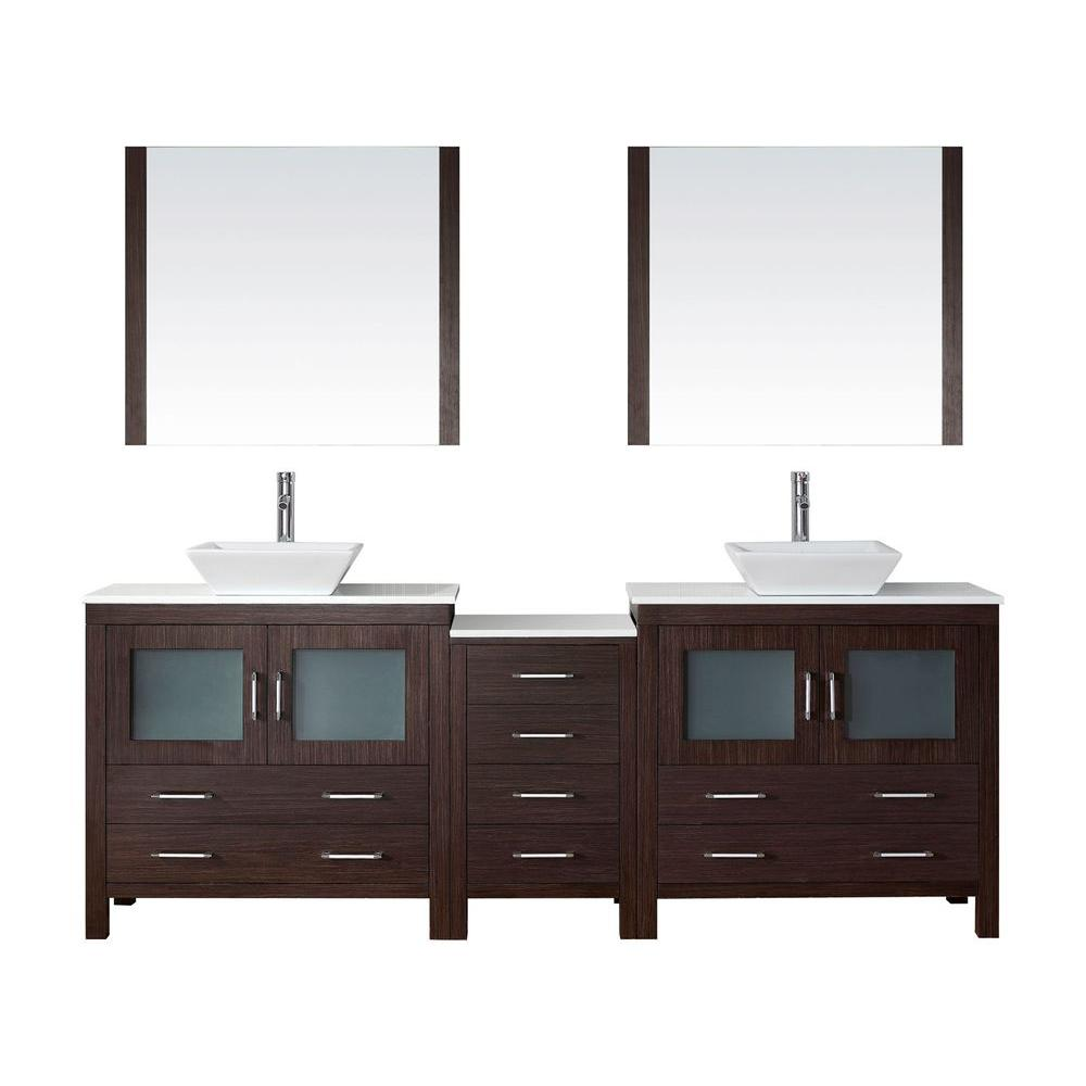 W Bath Vanity in Espresso with Stone Vanity Top in