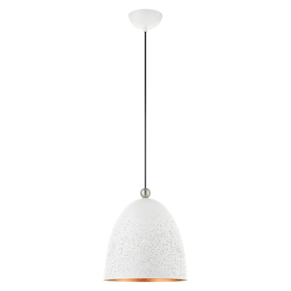 Arlington 1-Light White Pendant with Metal Shade