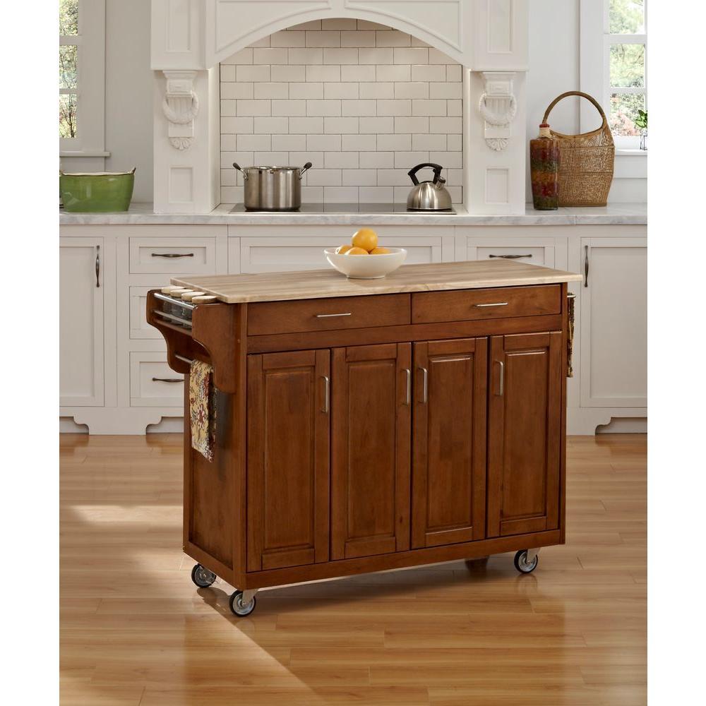 Create-a-Cart Warm Oak Kitchen Cart With Natural Wood Top
