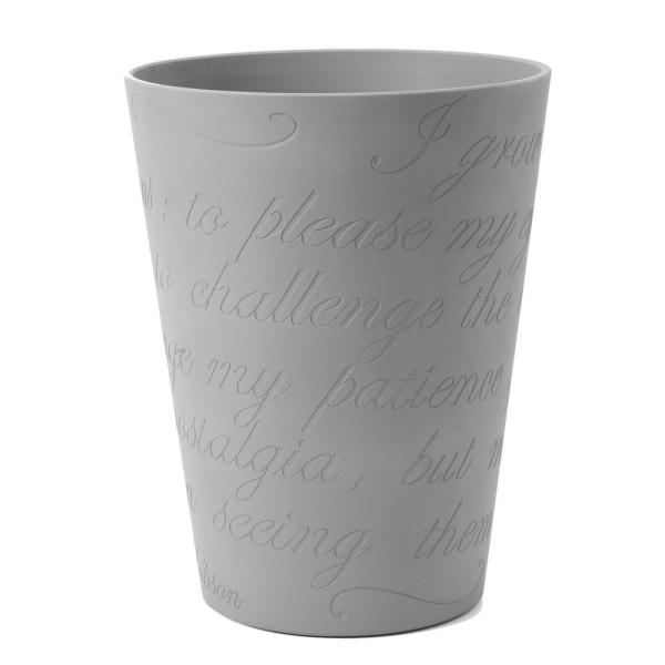 Lamia Large 11 in. Cement Gray Planter Pot with Engraved Garden Poem Design