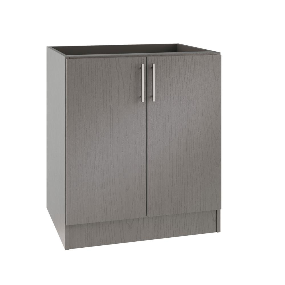 Miami Island Outdoor Kitchen Base Cabinet With 2 Full Height Doors In Rustic Gray