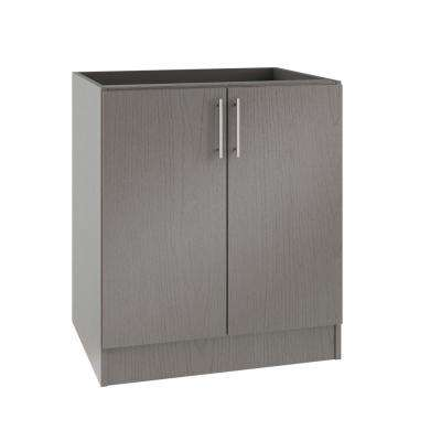 Assembled 36x34.5x24 in. Miami Island Outdoor Kitchen Base Cabinet with 2 Full Height Doors in Rustic Gray