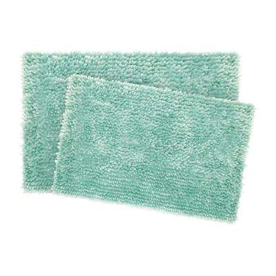 Mega Butter Chenille 17 in. x 24 in./20 in. x 32 in. 2-Piece Bath Mat Set in Aqua