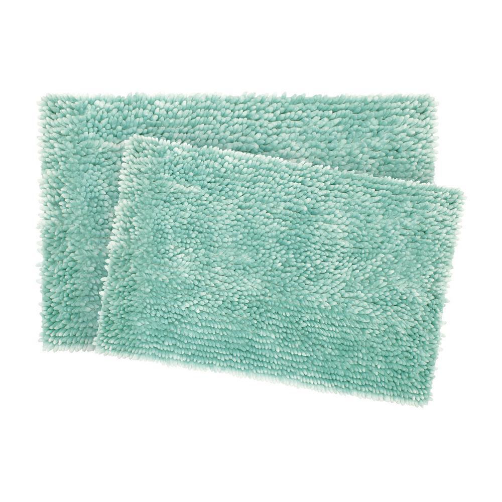 Mega Butter Chenille 17 in. x 24 in./20 in. x 32 in. 2-Piece Bath Mat Set in Aqua