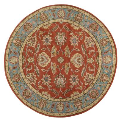 Old London Terra/Blue 8 ft. x 8 ft. Round Area Rug