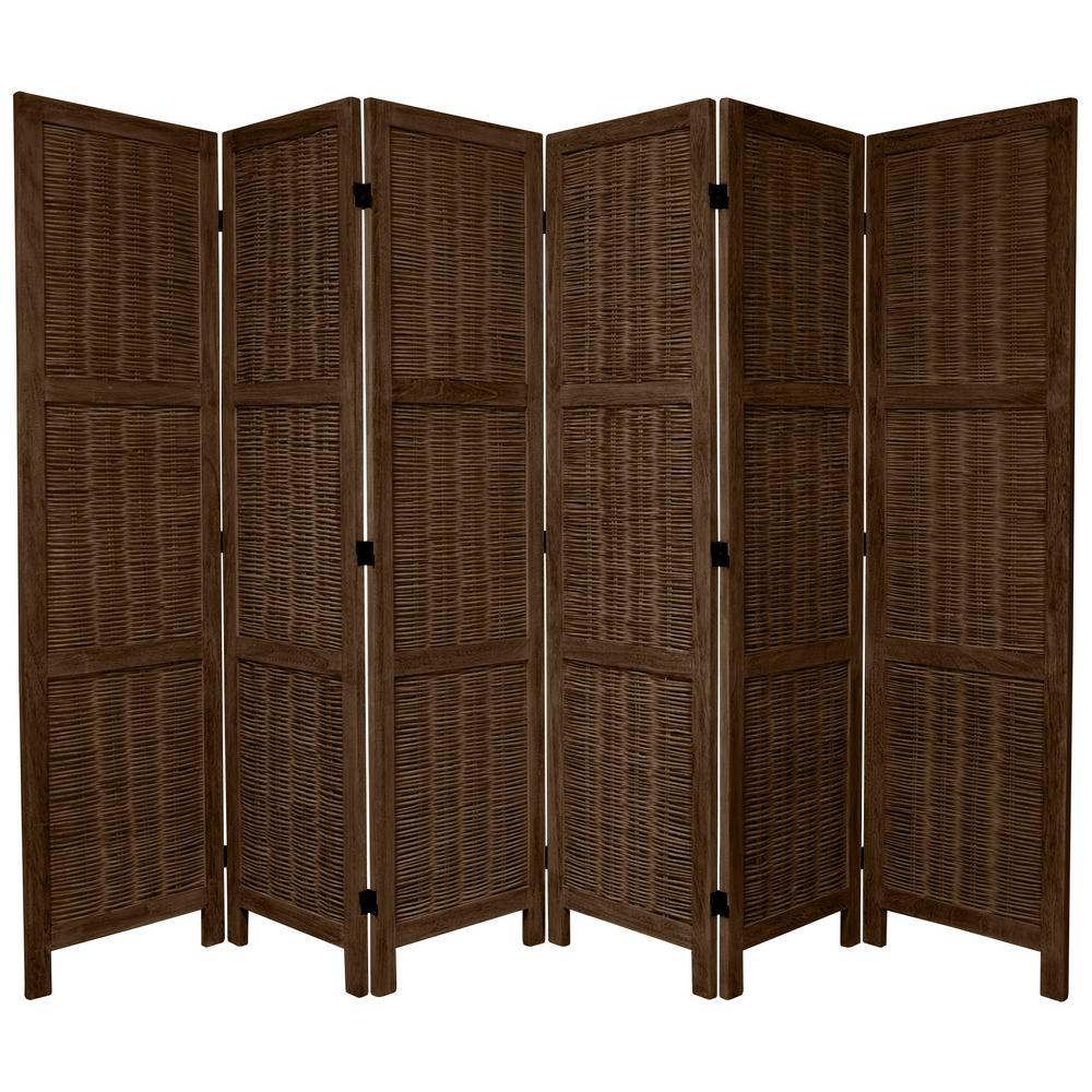 Oriental Furniture 6 Ft. Burnt Brown Matchstick 6 Panel Room Divider