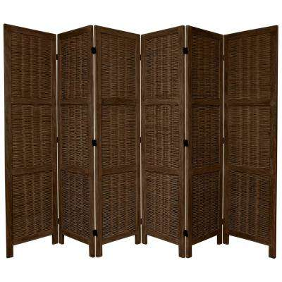 6 ft. Burnt Brown Matchstick 6-Panel Room Divider