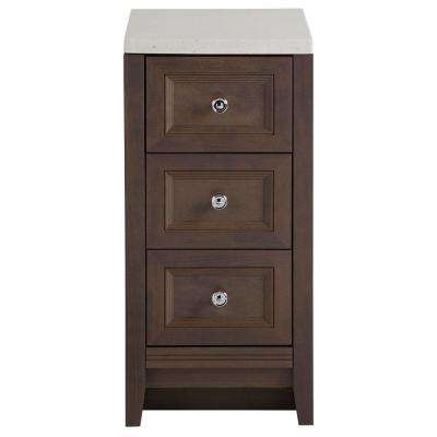Delridge 14 in. W Modular Drawer Base Bathroom Linen Storage Floor Cabinet in Flagstone with Solid Surface Vanity Top