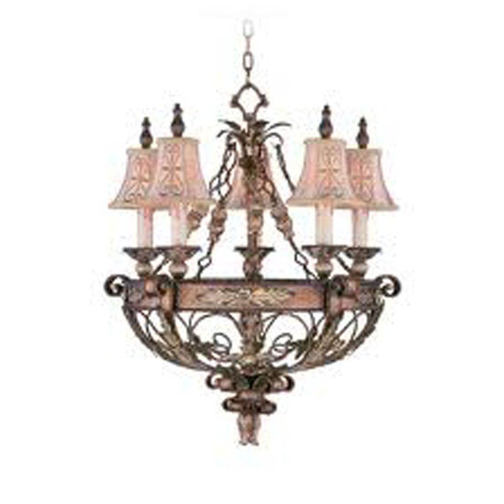 Providence 5-Light Palatial Bronze Incandescent Ceiling Chandelier with Gilded