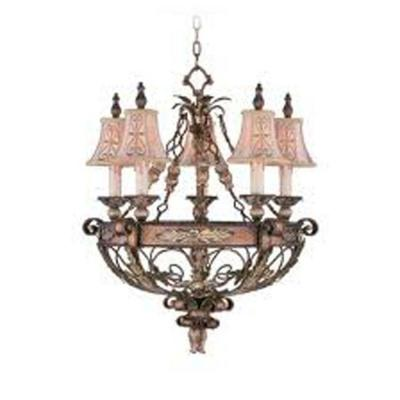Providence 5-Light Palatial Bronze Incandescent Ceiling Chandelier with Gilded Accents