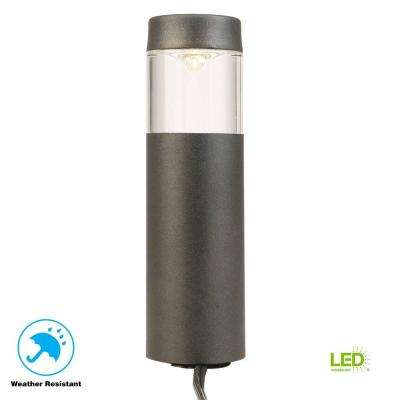 Low-Voltage 10-Watt Equivalent Black Outdoor Integrated LED Round Bollard Landscape Path Light