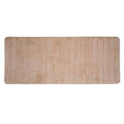 Taupe 24.25 in. x 60 in. Memory Foam Striped Extra Long Bath Mat