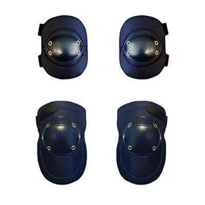 Knee and Elbow Pads Combo Tough Cap Blue Thick Foam Padding, Adjustable Elastic Straps
