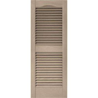 15 in. x 39 in. Louvered Vinyl Exterior Shutters Pair in #023 Wicker