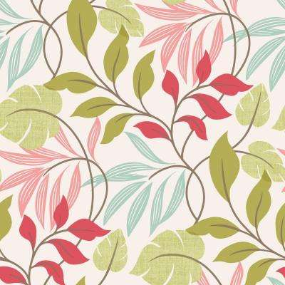 Eden Pink Modern Leaf Trail Wallpaper