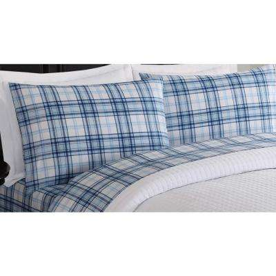 Lowell Printed 6-Piece Blue and White Queen Sheet Set
