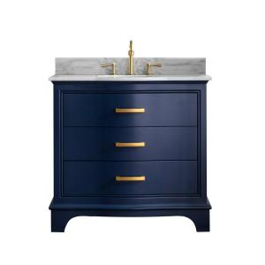 Monroe 36 in. W x 22 in. D Bath Vanity in Navy Blue with Natural Marble Vanity Top in Carrara White with White Basin