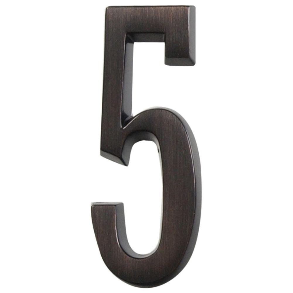 Distinctions 4 in. Flush Mount Aged Bronze Plated Number 5
