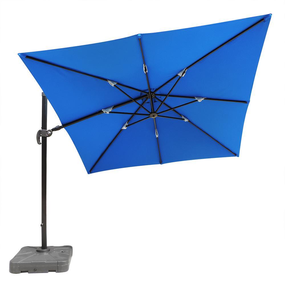 Santorini II 10 ft. Square Cantilever Patio Umbrella in Blue Sunbrella Acrylic