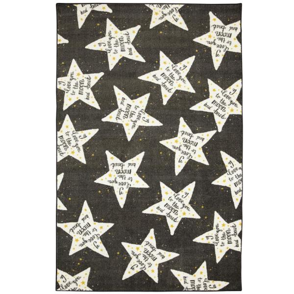 Mohawk Home To The Moon Black White 5 Ft X 8 Ft Indoor Area Rug 049568 The Home Depot