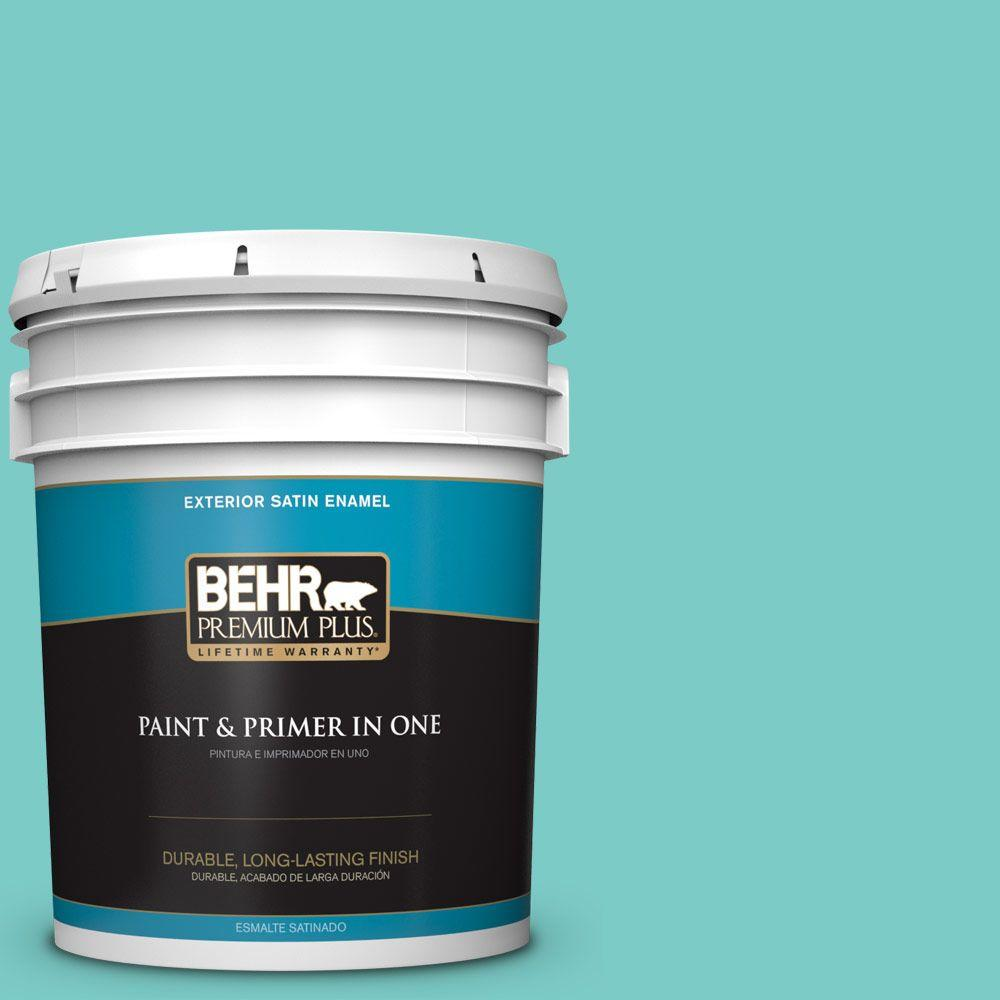 5-gal. #BIC-39 Blue Green Gem Satin Enamel Exterior Paint
