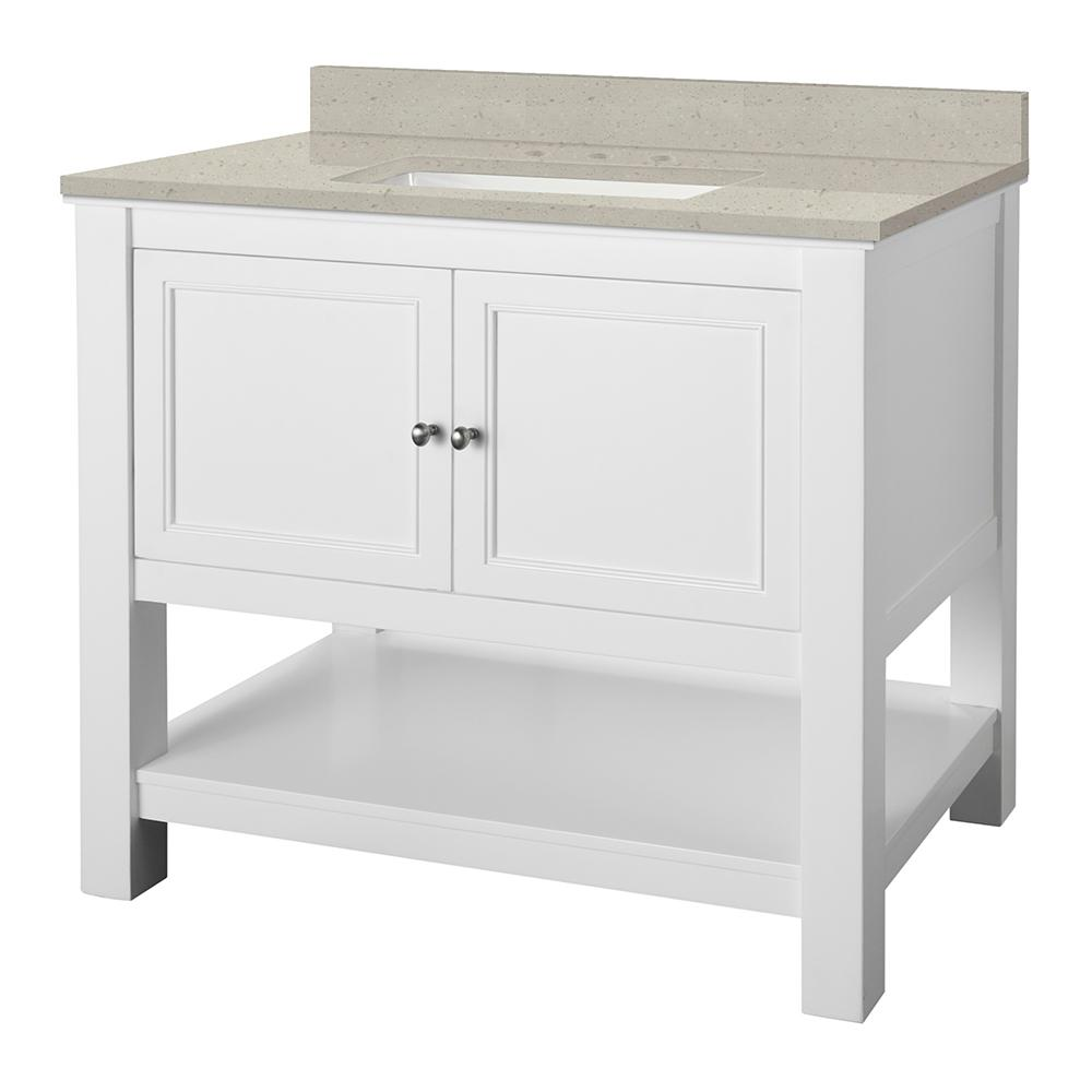 Home Decorators Collection Gazette 37 in. W x 22 in. D Vanity Cabinet in White with Engineered Quartz Vanity Top in Stoneybrook with White Sink