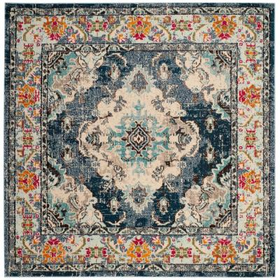 Monaco Navy/Light Blue 6 ft. 7 in. x 6 ft. 7 in. Square Area Rug