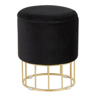 Canary Black Velvet and Gold Ottoman