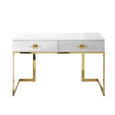 23.6 in. Rectangular White/Gold 2 Drawer Executive Desks with Steel Frame