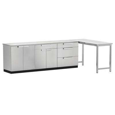 Stainless Steel Classic 5-Piece 160x36x24 in. Outdoor Kitchen Cabinet Set