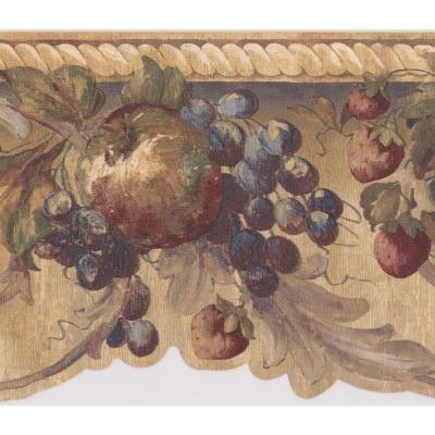 Damask Painted Fruits Grapes Scrolls Vintage Prepasted Wallpaper Border