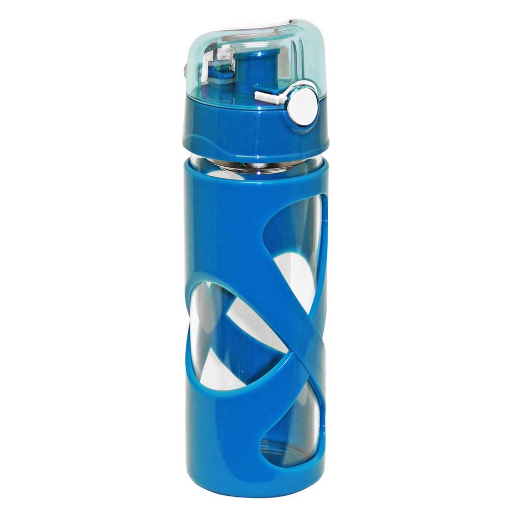 16 oz. Blue Borosilicate Glass Water Bottle (12-Pack)