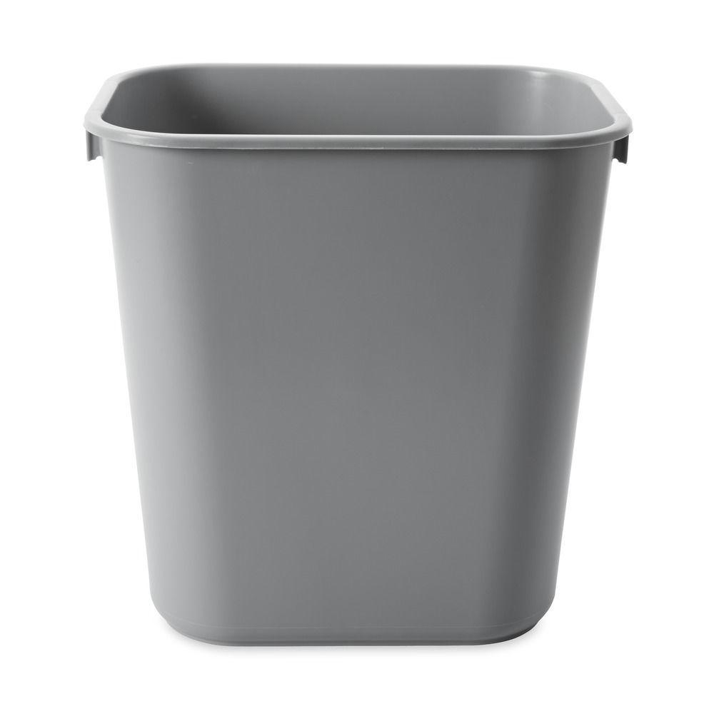 Carlisle 10 Gal Beige Rectangular Office Trash Can 12 Case Garbage Lidless Bin