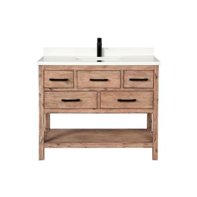 Betty 42 in. Single Vanity in Weathered Brown with Quartz Vanity Top in White with White Basin