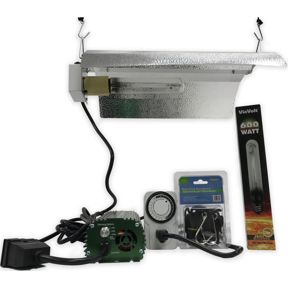ViaVolt 1-Light 600-Watt HPS White Grow Light System with Timer/Remote  Ballast and Reflector