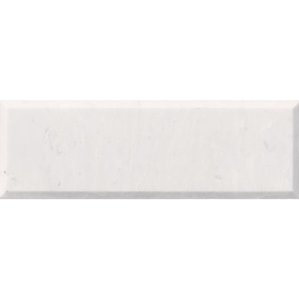 MSI Carrara White Beveled 4 in. x 12 in. Polished Marble Wall Tile (5 sq. ft. / case)