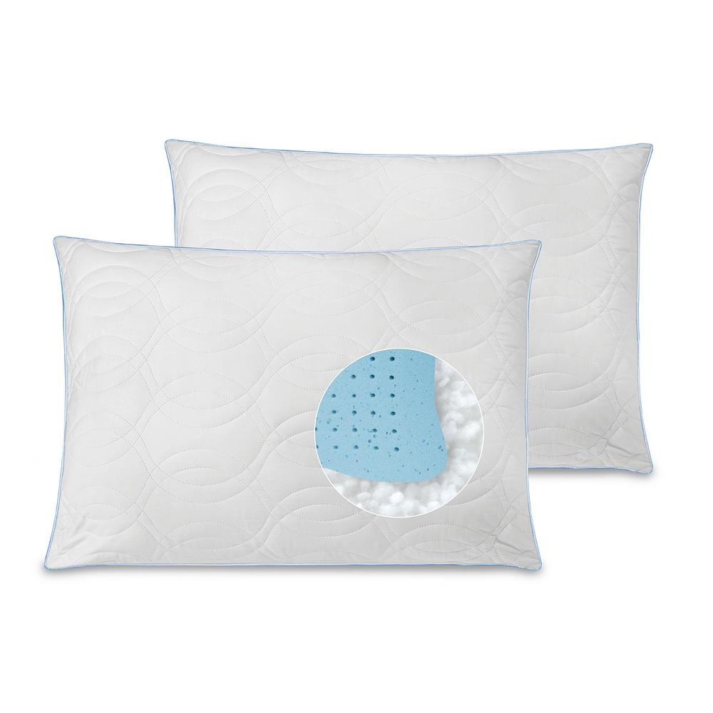 Quilted Gel Core Jumbo Pillow (Set of 2)
