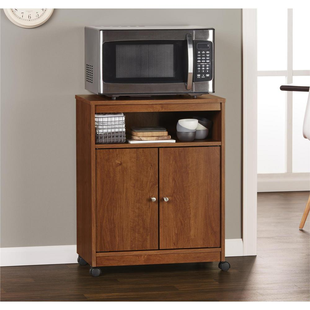 microwave kitchen cart with storage ameriwood shelton medium brown microwave cart hd97636 9161