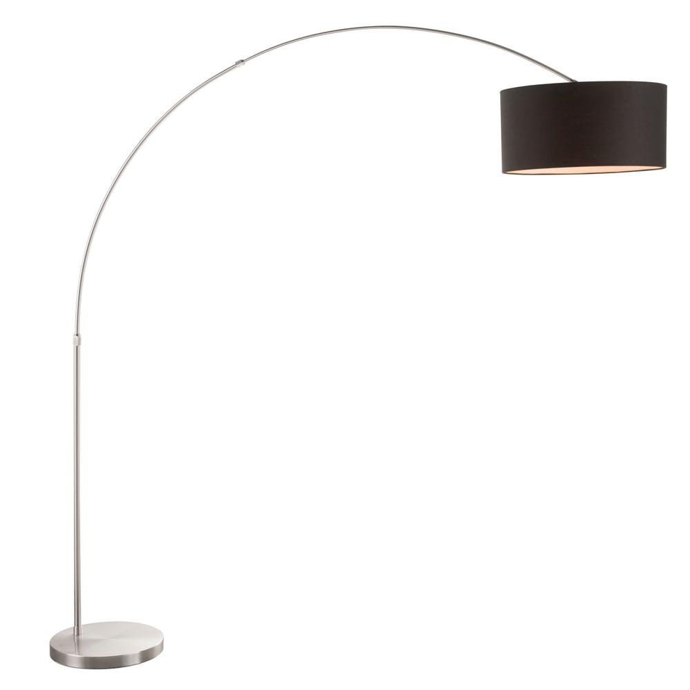 Salon 76 in. Satin Nickel Floor Lamp with Black Shade