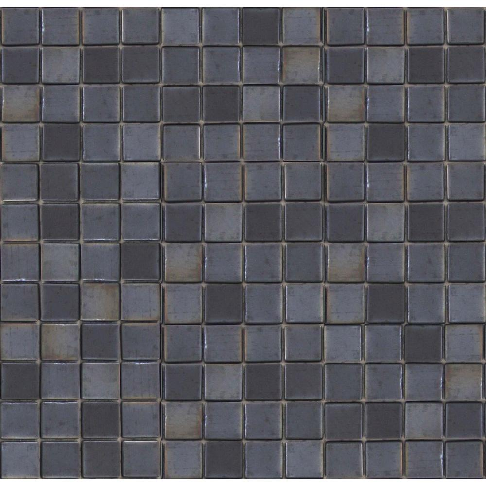 Epoch Architectural Surfaces Metalz Tungsten-1010 Mosiac Recycled Glass Mesh Mounted Floor and Wall Tile - 3 in. x 3 in. Tile Sample