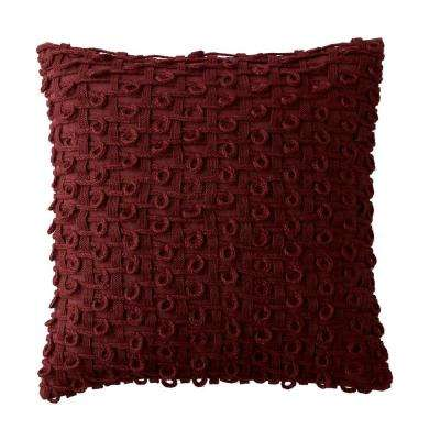Embroidered Decorative Pillow Cover in Red Geo, 18 in. x 18 in.