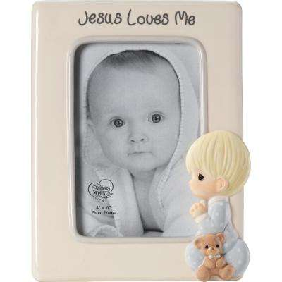4 in. x 6 in. Multi Colored Gloss Ceramic Praying Boy With Teddy Bear Picture Frame