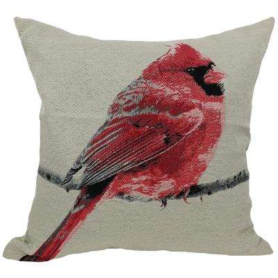18 in. x 18 in. Red Cardinal Bird Embroidery with Feather Filled Pillow